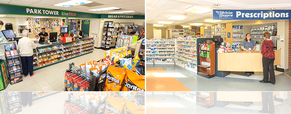 An inside view of the RiteStop Variety Store on the left and the Medicine Shoppe Pharmacy on the right, shelves stock with a variety of items.