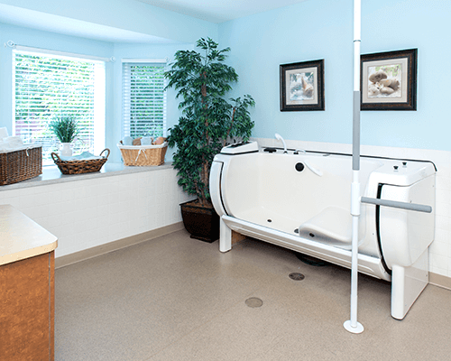 An inside view of the Therapeutic Spa Tub room, bright and open with a specialty tub.