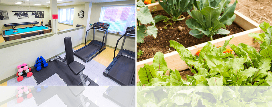 An inside view of the Exercise and Games Room on the left and an image of fresh greens in a Community Garden on the right.